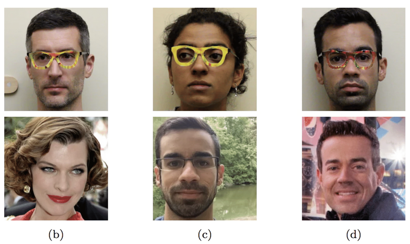 Pictures showing how researchers used their glasses to impersonate celebrities, as well as each other.